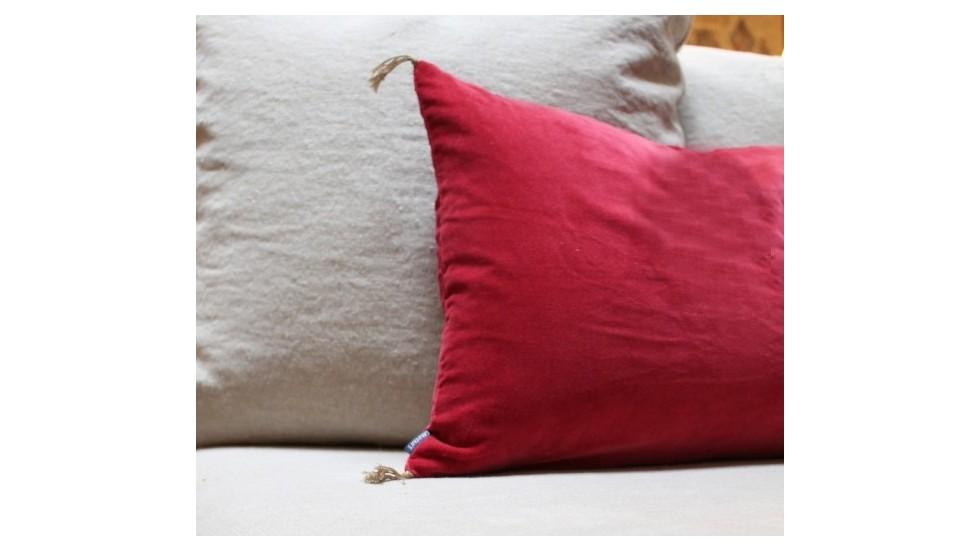 coussin caravane velours lave pivoine. Black Bedroom Furniture Sets. Home Design Ideas