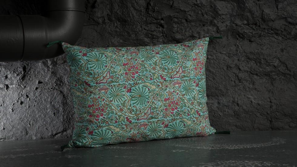 coussin caravane coton imprime papilio turquoise. Black Bedroom Furniture Sets. Home Design Ideas