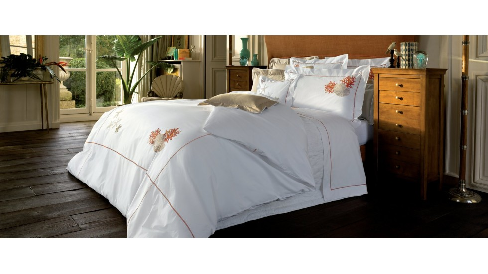 achat housse couette blanc des vosges percale imprim e. Black Bedroom Furniture Sets. Home Design Ideas