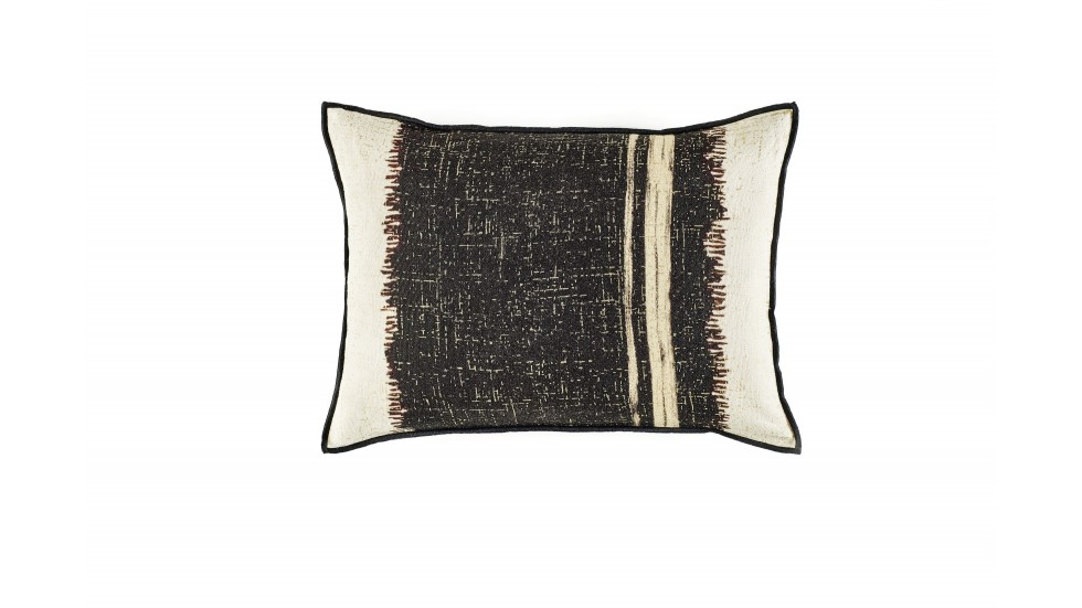 COUSSIN EN LIN ÉLITIS- TANGO Beige/noir- 40x55cm