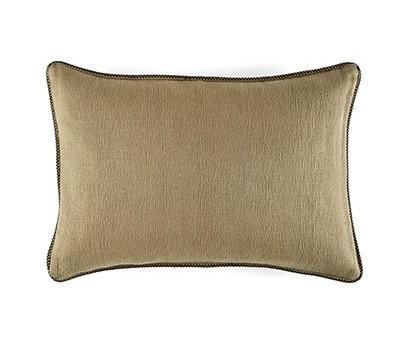 Coussin Waves 100% coton - finition passepoil brodé - kaki - 50x70cm