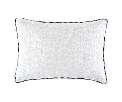 Coussin Waves 100% coton - finition passepoil brodé - snow - 50x70cm