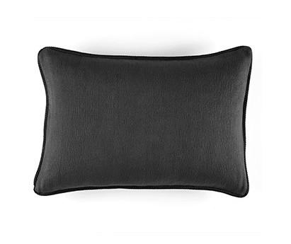 Coussin Waves 100% coton - finition passepoil brodé - graphite - 50x70cm