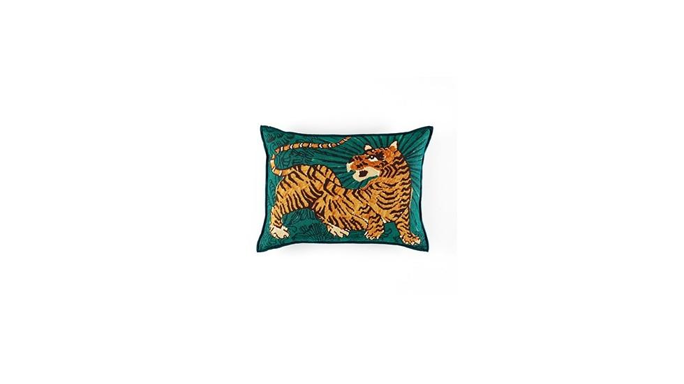 coussin élitis magic circus, impression tigre, turquoise, 40x55 cm