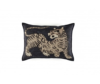 coussin élitis magic circus, impression tigre, NOIR, 40x55 cm