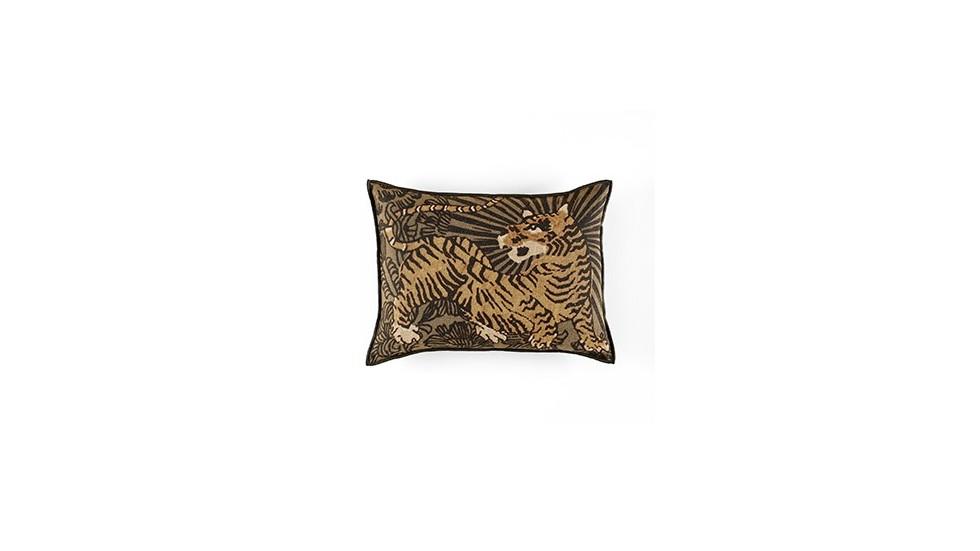 coussin élitis magic circus, impression tigre, beige, 40x55 cm