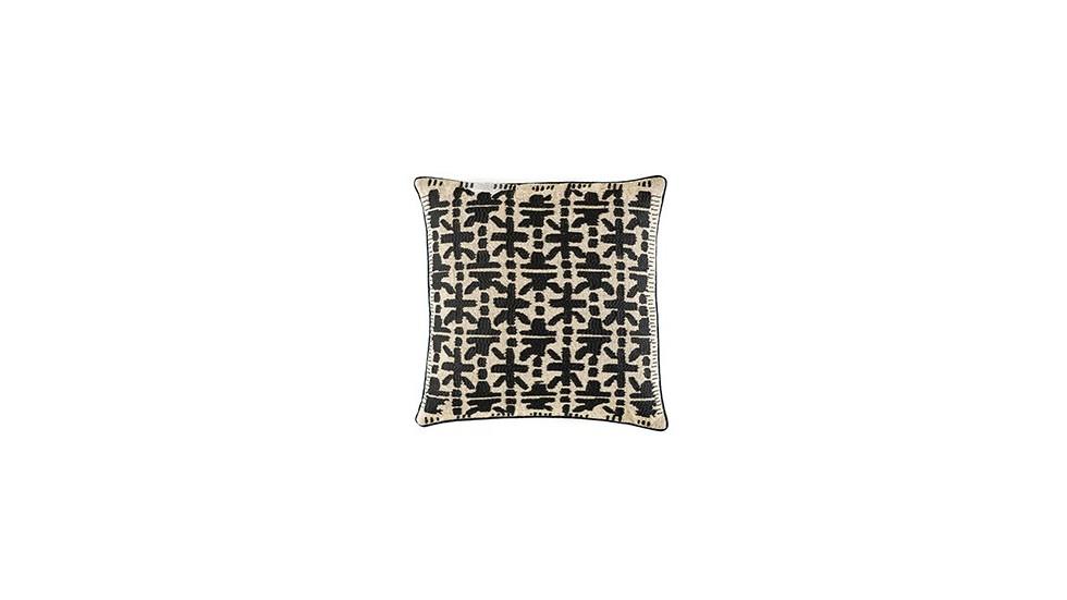 coussin élitis crossway en lin, carbone, 50x50 cm