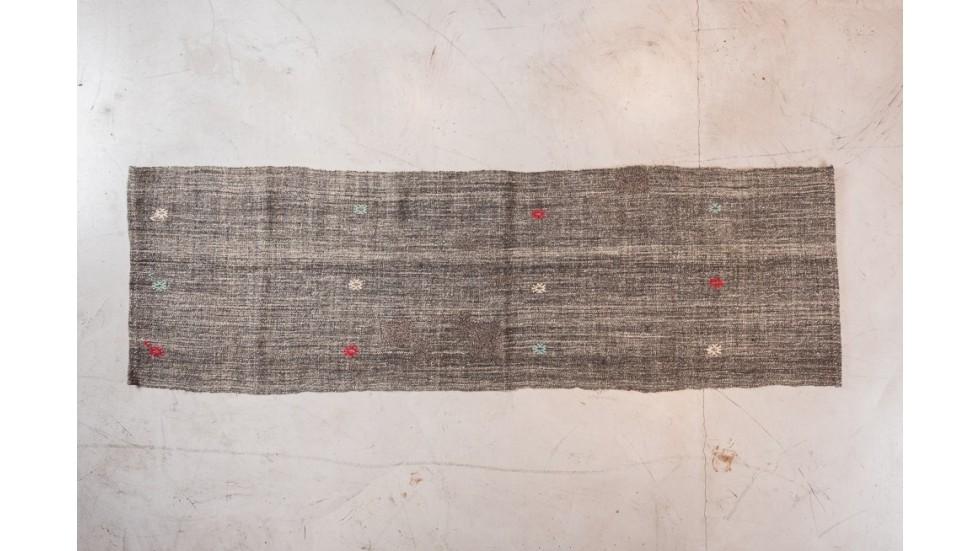 NOUVEAU- TAPIS DE PASSAGE KIRCIL brodé EN LAINE gris - 250X75
