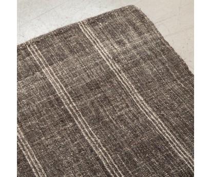 NOUVEAU- TAPIS DE PASSAGE KIRCIL brodé EN LAINE gris rayé - 640X80