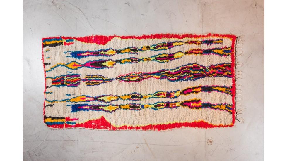 nouveau TAPIS BERBERE AZILAL- ROUGE, en laine 270x135
