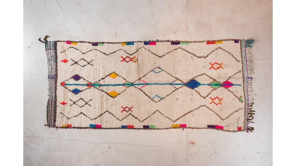 nouveau TAPIS BERBERE AZILAL- coloré, en laine 280x90