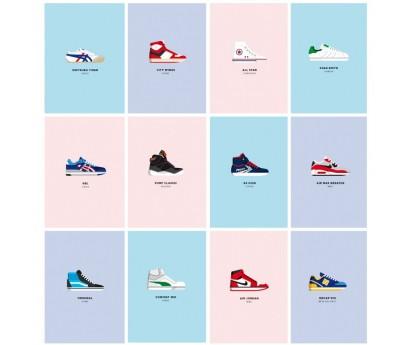 set de cartes postales Le Duo - Sneakers- 10,5x15 cm