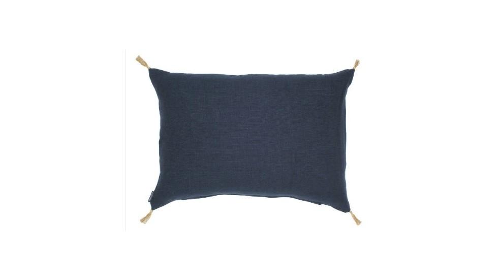 COUSSIN LUNI en lin Indigo, 40x55 cm