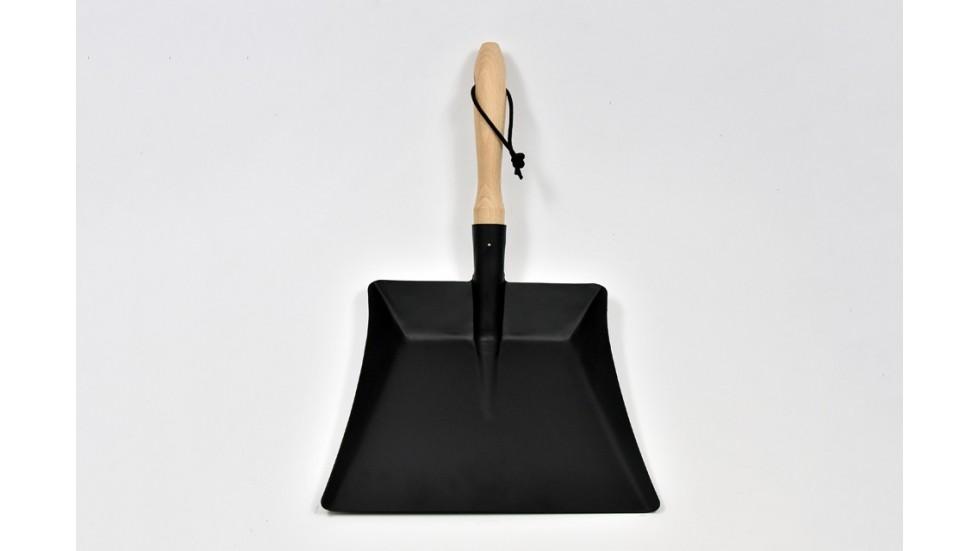 Pelle à poussière - tôle noire en acier et manche en hêtre