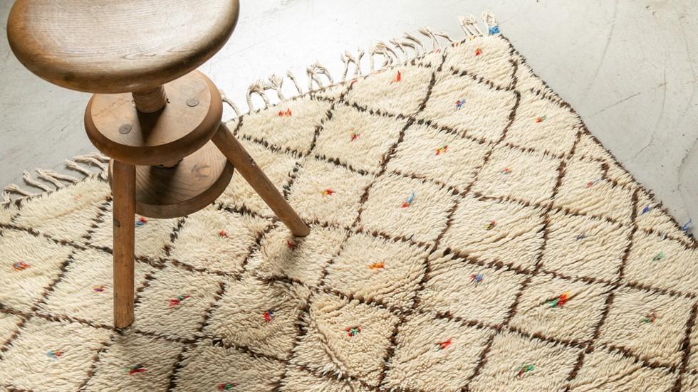 Tapis Berbère Azilal - 100% laine- écru- 340x150cm