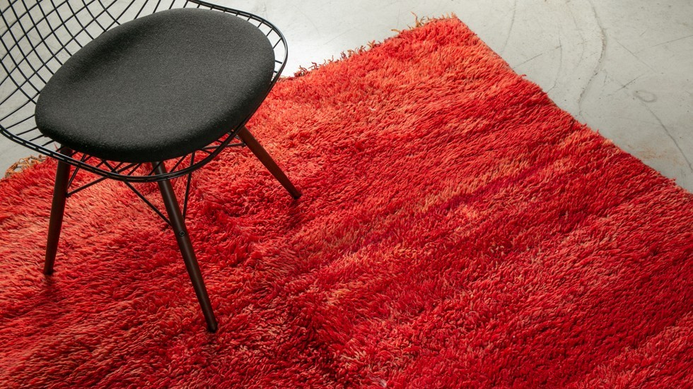 TAPIS BERBERE BENI MGUILD 100% LAINE- rouge- 310x165cm