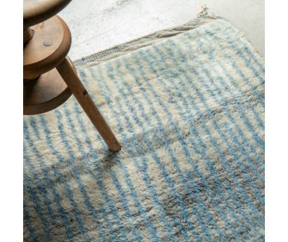 Très long tapis de passage Beni Ouarain- bleu- pure laine- 425X110 cm