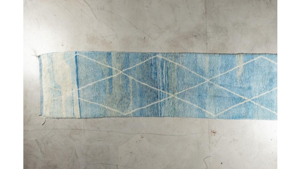 Tapis de passage Beni Ouarain- bleu losange- pure laine- 390X90 cm