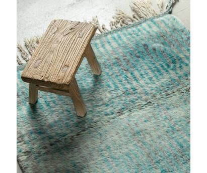 Tapis de passage Beni Ouarain- bleu turquoise-pure laine-385x95cm
