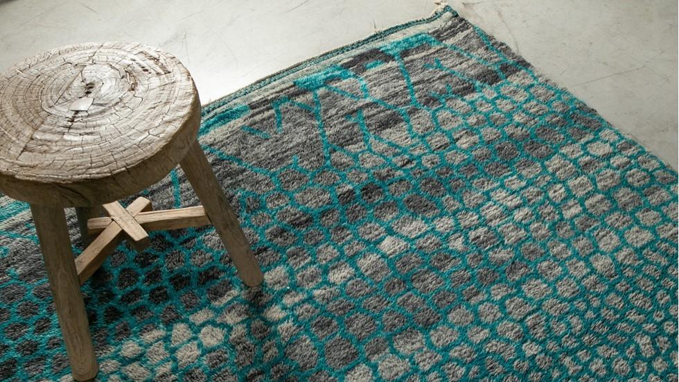 Tapis Beni Ouarain - pure laine- bleu graphique- 310x245 cm