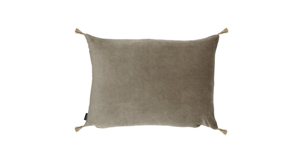 COUSSIN VELOURS CARAVANE - SMOOTH - GREGE