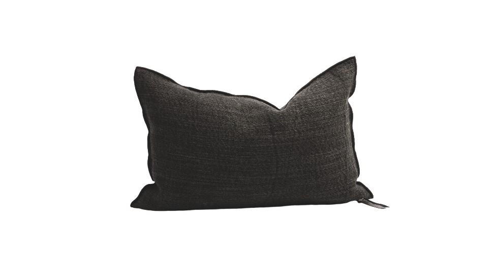 Coussin Vice et Versa - lin et coton - Nomade - charbon