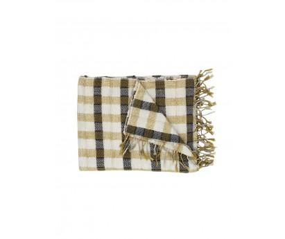 PLAID DAMERO en coton et soie- 130x170 cm