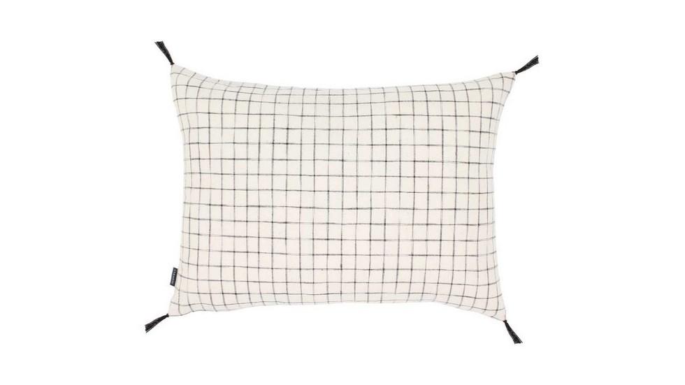 Coussin coton tissé main Bajna - carreaux