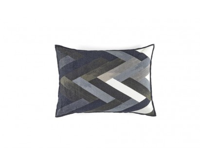 Coussin Woody, en velours chemille- 40x55 cm- Gris shadowy