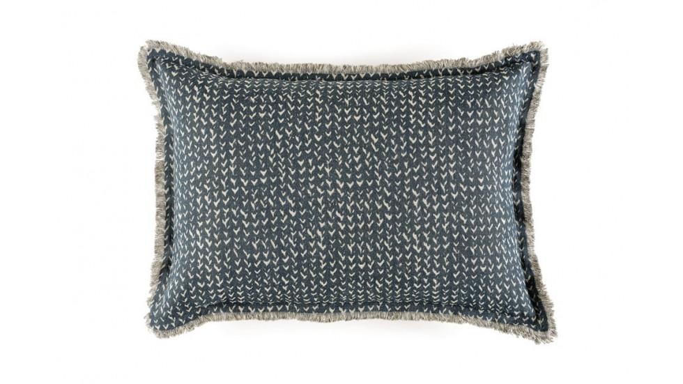 COUSSIN JAZZ 100% LIN - DOUBLE FRANGE- 50cm x 70cm- EBONY