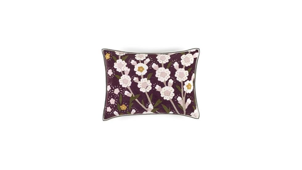 Coussin flora prune- élitis- Velours- 40x55 cm