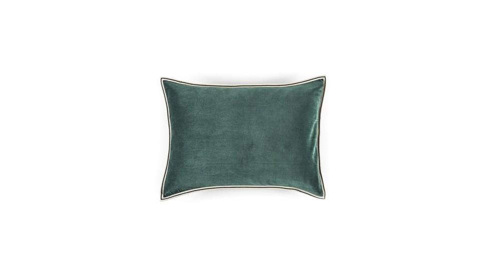 Coussin Aristote velours - finition sergé brodé contrasté- Curaçao- 40x55cm
