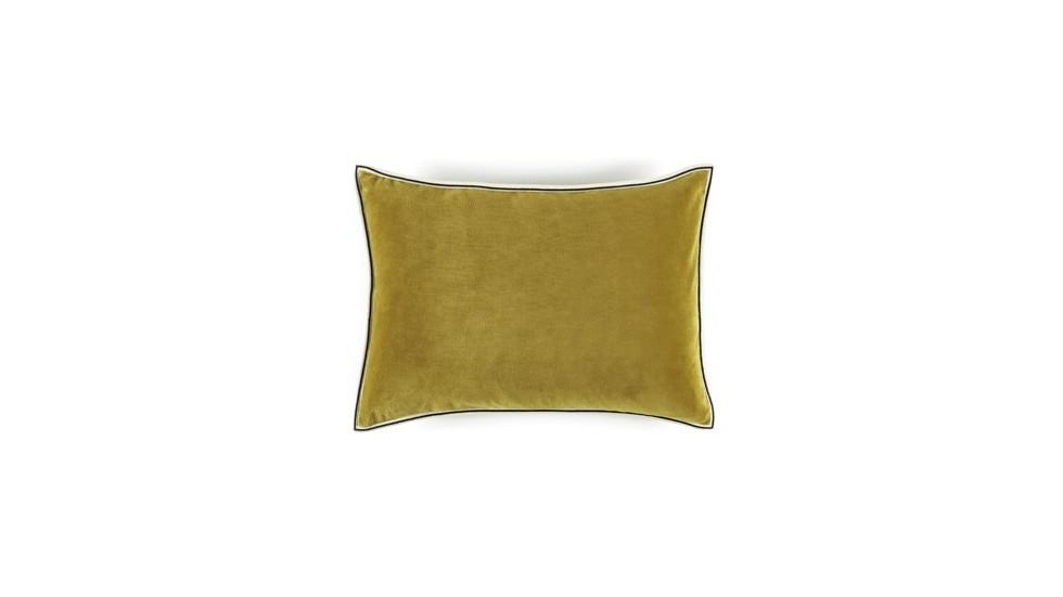 COUSSIN EN VELOURS ARISTOTE - finition sergé brodé contrasté - Doré - 40x55CM