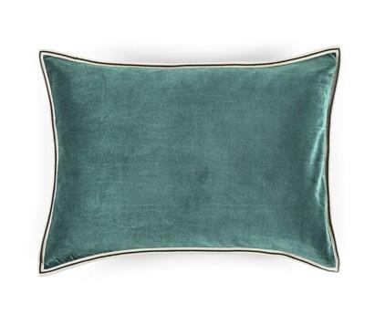 Coussin velours Aristote - finition sergé brodé contrasté- turquoise- 40x55cm