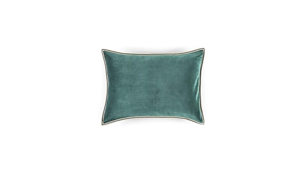 COUSSIN EN VELOURS ARISTOTE - finition sergé brodé contrasté - Turquoise - 40x55CM