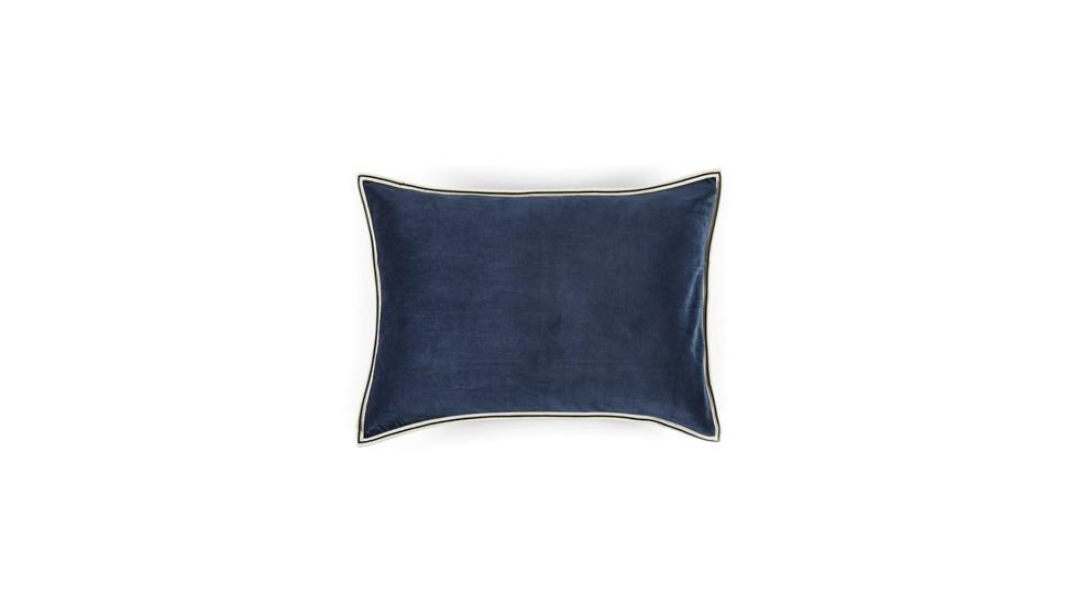 Coussin Aristote velours - finition sergé brodé contrasté- Pétrole- 40x55cm