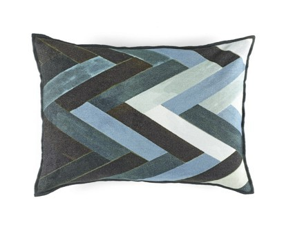 COUSSIN WOODY | 40cm x 55cm | 100% VELOURS CHENILLE | STORMY BLUE