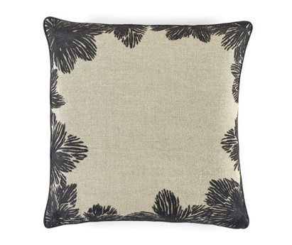 COUSSIN LOUISE | 50cm x 50cm | 100% LIN BRODE | CARBONE