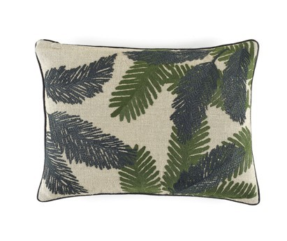 COUSSIN MONA | 40cm x 55cm | 100% LIN BRODE | TROPICAL