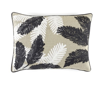 COUSSIN MONA | 40cm x 55cm | 100% LIN BRODE | BLACK AND WHITE