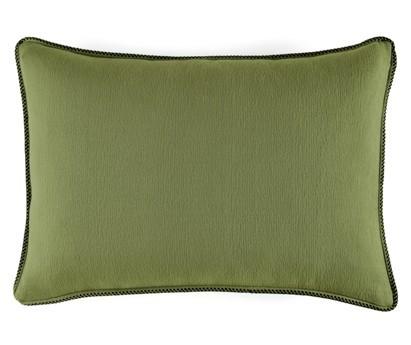 Coussin Waves 100% coton - finition passepoil brodé - vert prairie - 50x70cm