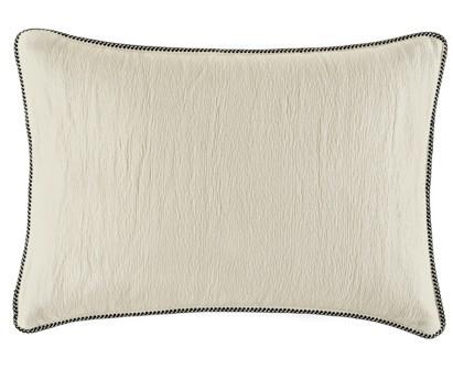 Coussin Waves 100% coton - finition passepoil brodé - mastic - 50x70cm