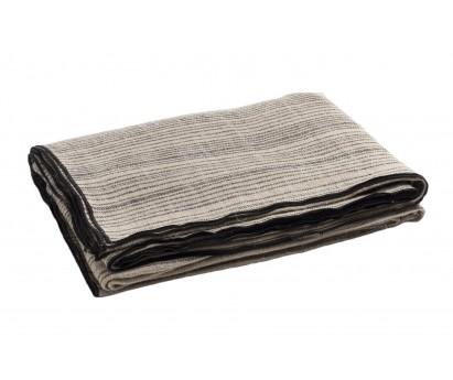 PLAID   PANNEAU RAYURE VERTICALE   150cm x 250cm   TOILE RUSTIQUE BYZANCE   NATUREL&NOIR