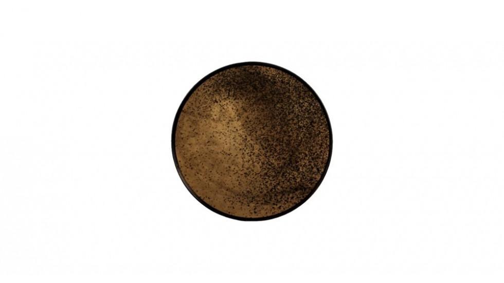 PLATEAU ROND | VERRE ET METAL | 48cm x 48xm x 4cm | MOTIF MIROIR BRONZE VIEILLI