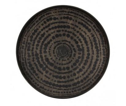 PLATEAU ROND EN BOIS FLOTTÉ - 48 x 4cm- MOTIF CERCLE NOIR