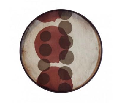 PLATEAU ROND VERRE ET METAL - 48cm x 4cm -MOTIF GRAPHISME CHOCOLAT-BORDEAUX