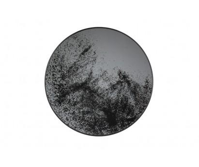 PLATEAU ROND   VERRE ET METAL   61cm x 61xm x 4cm   MOTIF MIROIR CLEAR VIEILLI