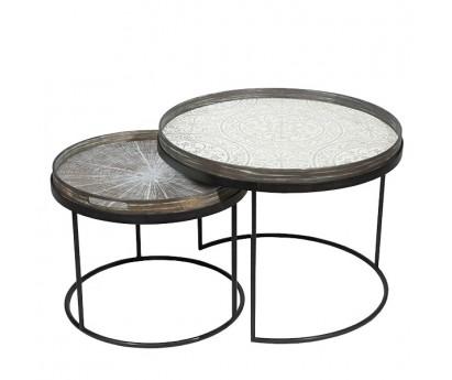 SET DE 2 TABLES BASSES- PLATEAU ROND en métal