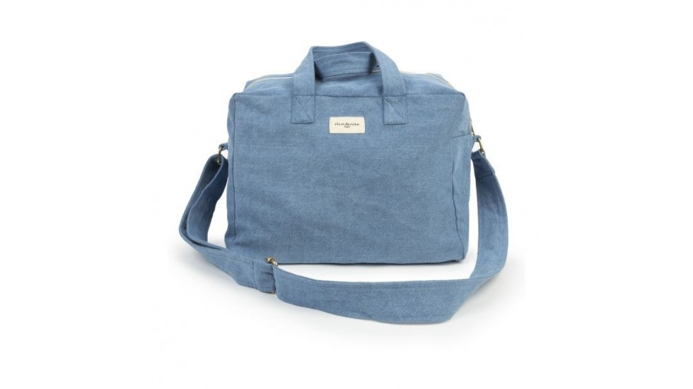 SAUVAL CITY BAG - COTON RECYCLE - DENIM STONE WASHED