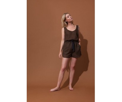 SHORT FEMME MAURICE - TAILLE UNIQUE - ALL OVER MARINE ALL OVER NOIR CARAMEL